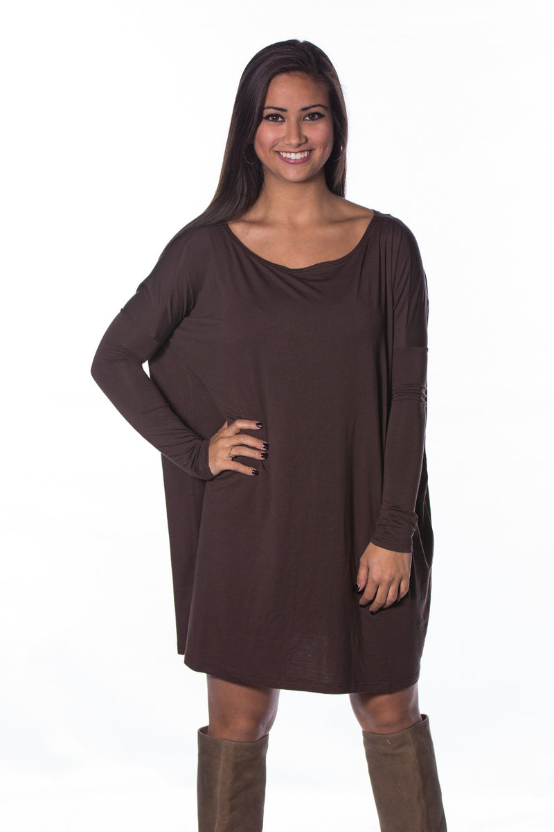 The Perfect Piko Tunic Top-Dark Brown