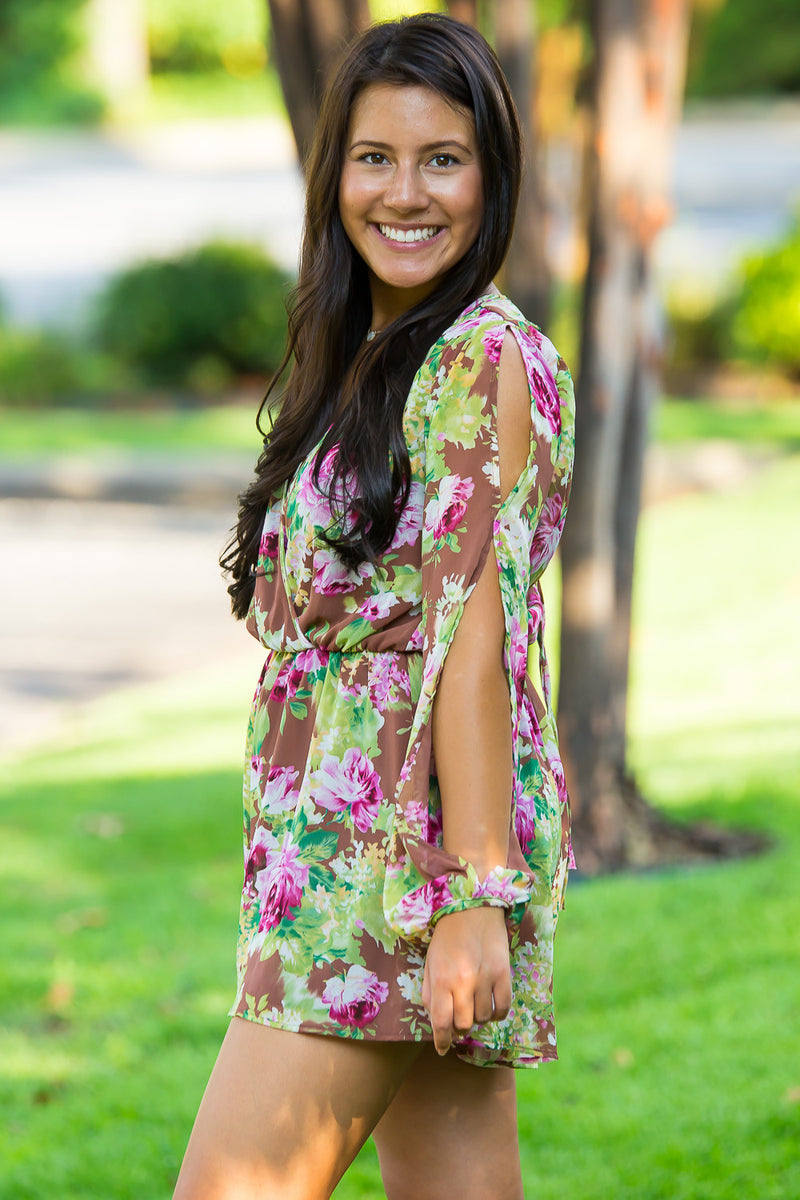 Bouquet Of Beauty Romper-Brown