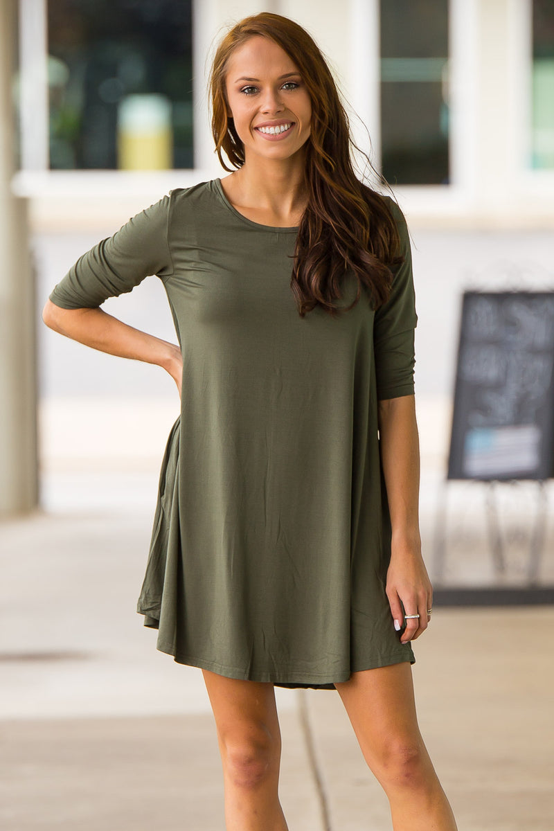 The Perfect Piko 3/4 Sleeve Swing Dress-Army