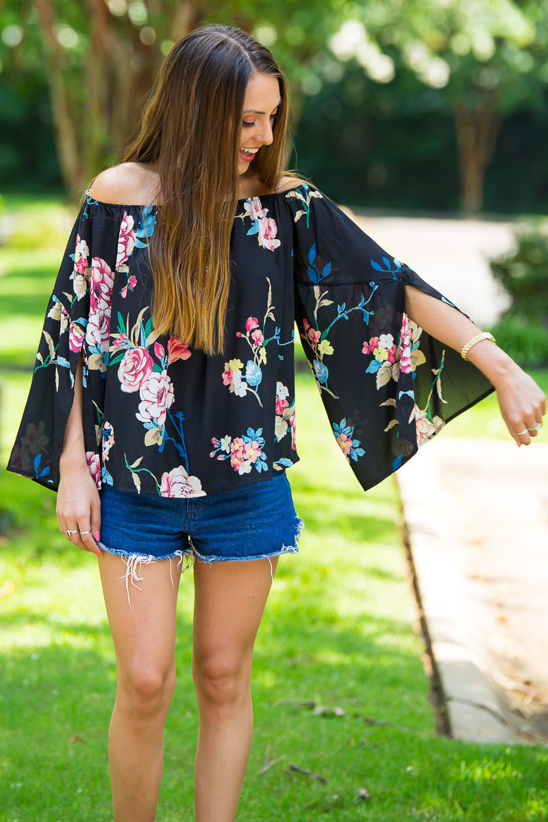 Day Made Off The Shoulder Top-Black/Multi