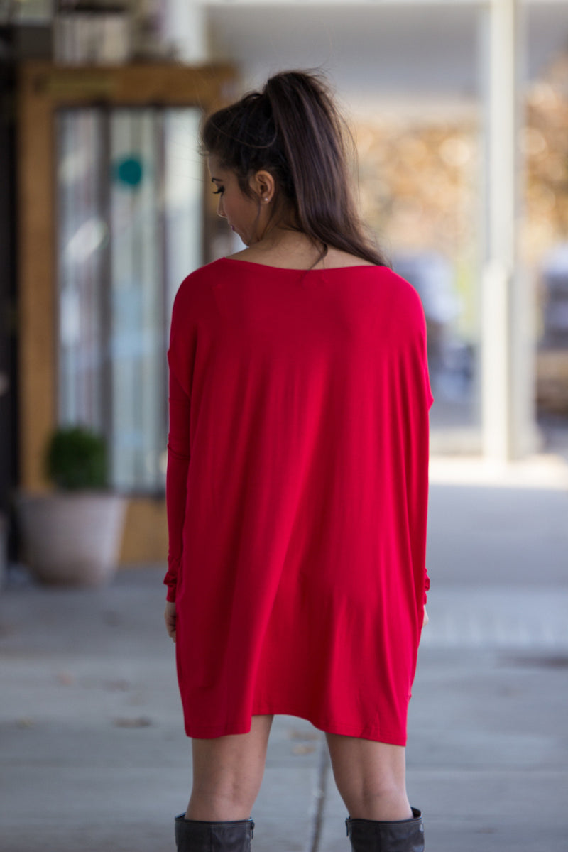 The Perfect Piko V-Neck Tunic Top-Red