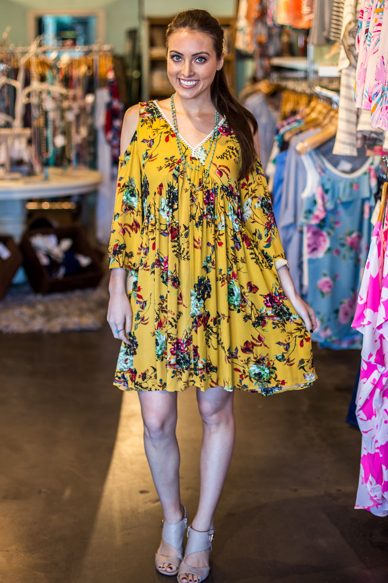 Time To Bloom Dress-Honey