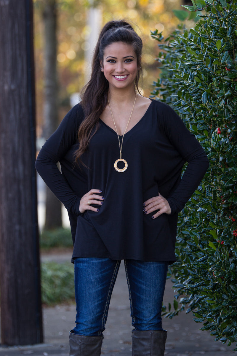 The Perfect Piko V-Neck Top-Black