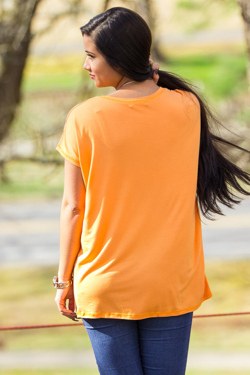 The Perfect Piko Rolled Short Sleeve Top-Tangerine