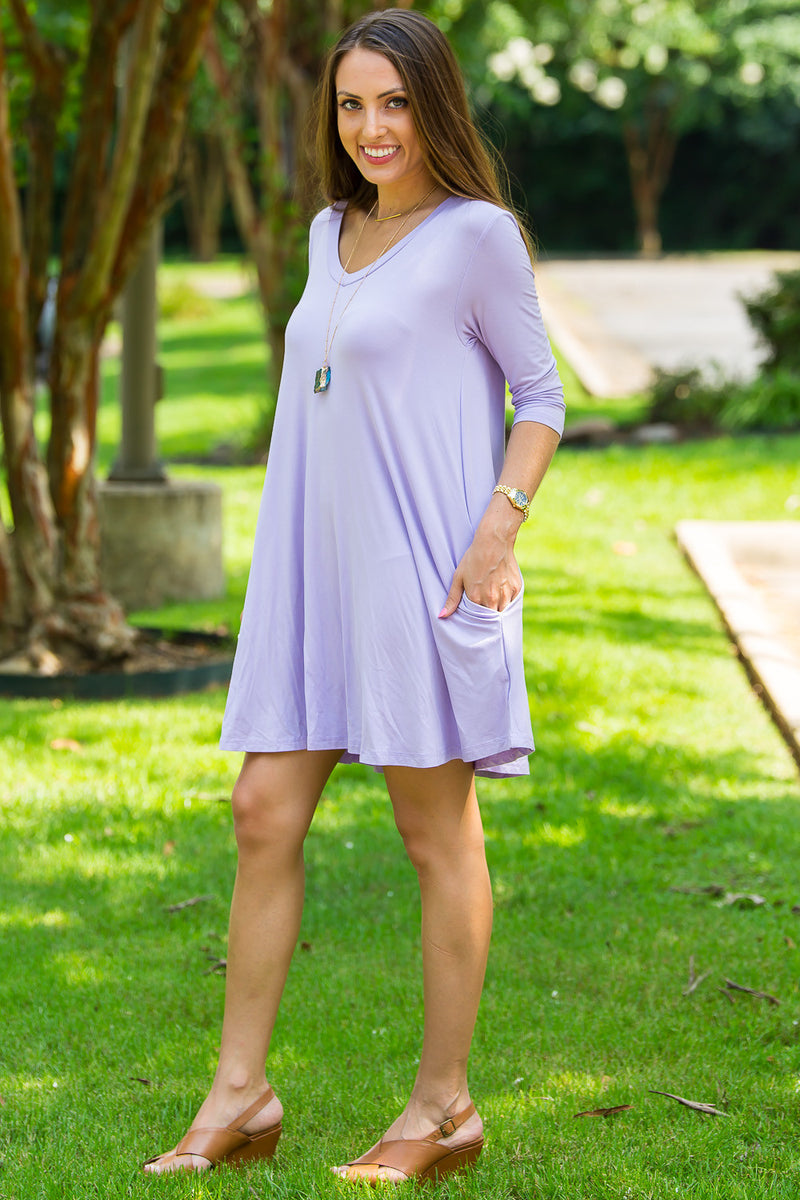 The Perfect Piko 3/4 Sleeve V-Neck Swing Dress-Lilac