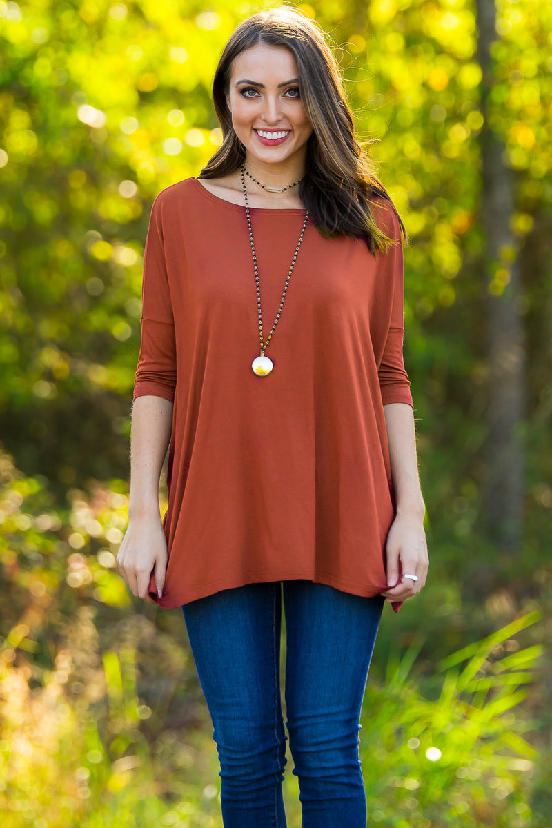 The Perfect Piko 3/4 Sleeve Top-Rust