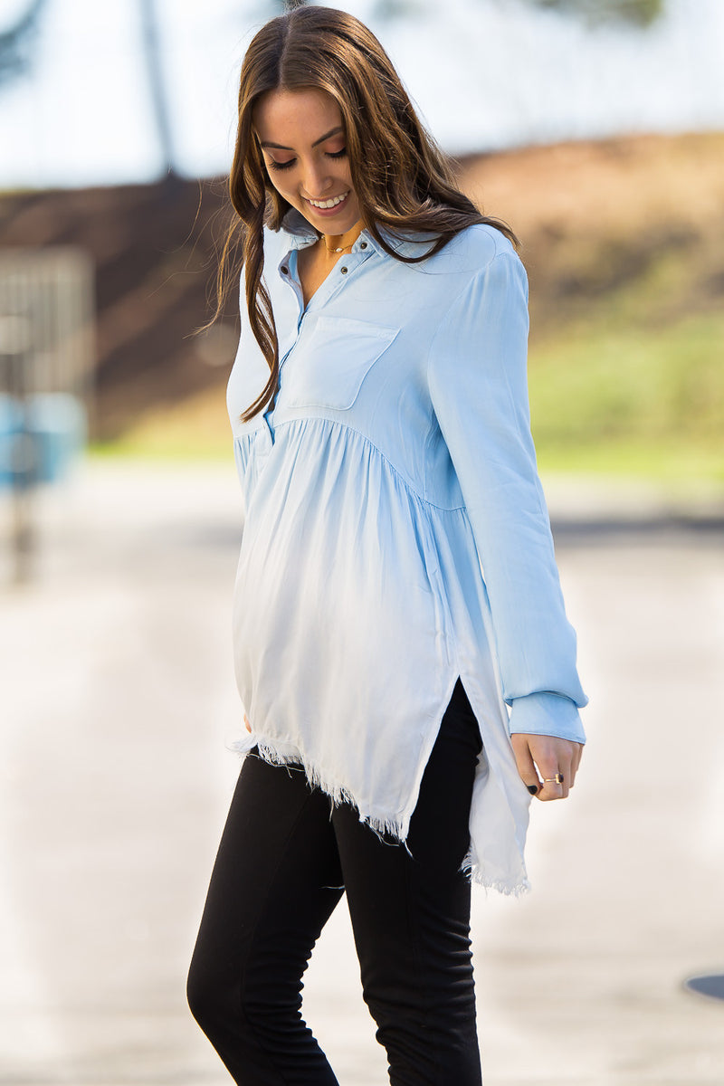 Faded Away Tunic Top-Light Denim