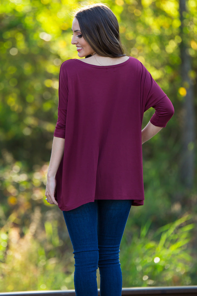 The Perfect Piko 3/4 Sleeve Top-Plum