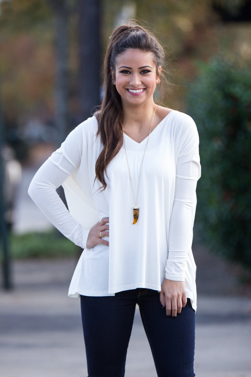 The Perfect Piko V-Neck Top-Off White