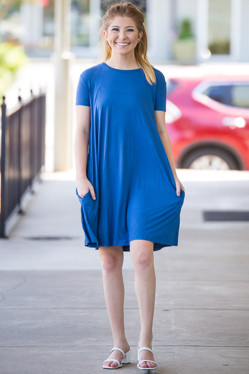 The Perfect Piko Short Sleeve Swing Dress-Denim