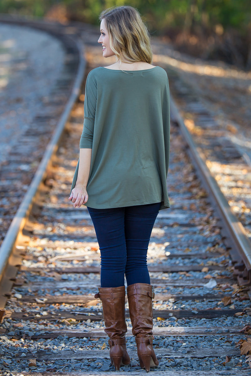 The Perfect Piko 3/4 Sleeve Top-Army