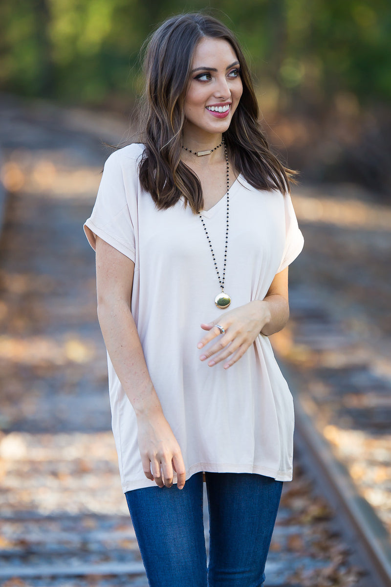 The Perfect Piko Rolled Short Sleeve V-Neck Top-Cream