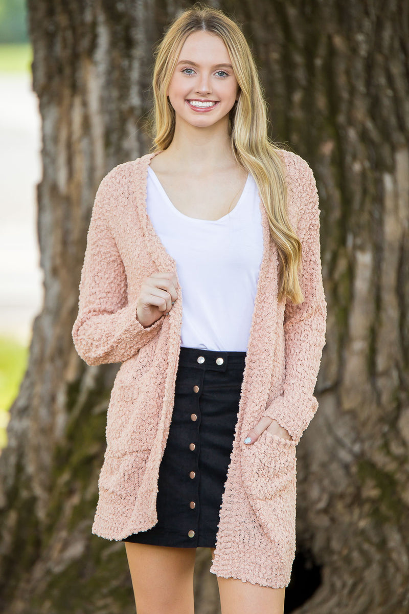 Take Me To The Movies Cardigan-Blush