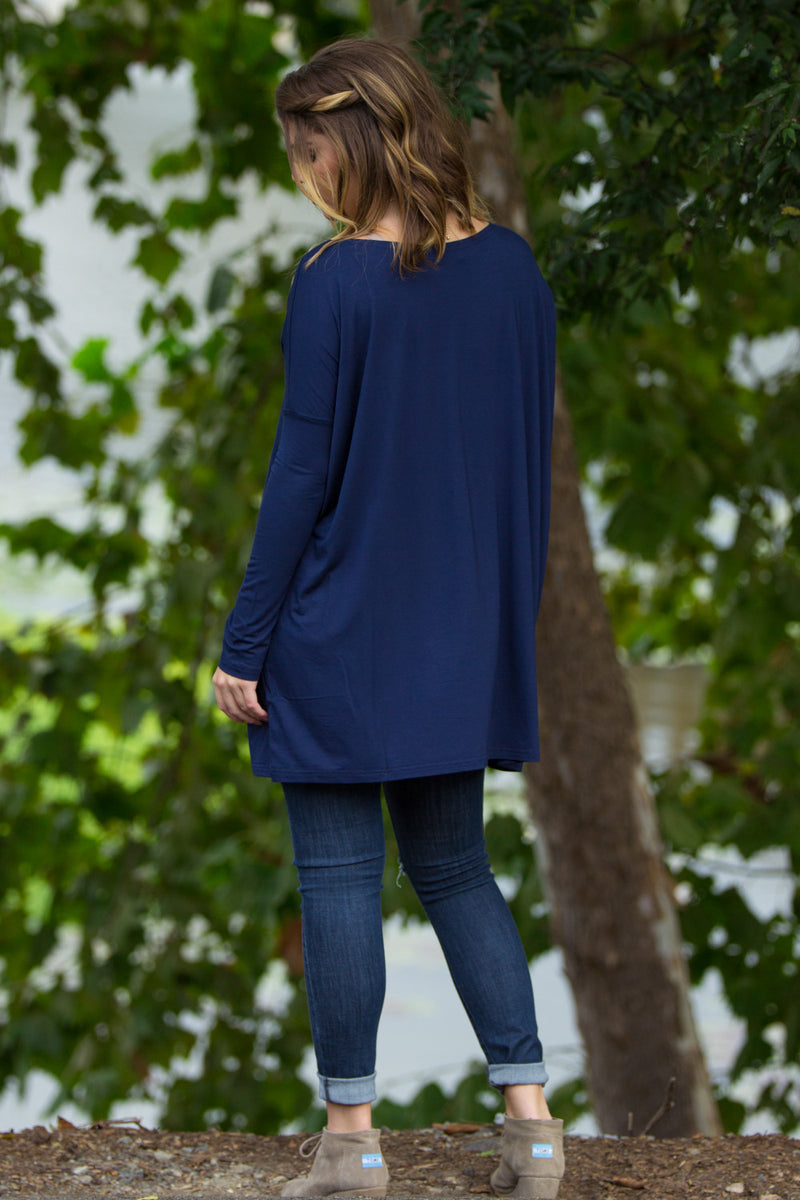 The Perfect Piko Tunic Top-Navy