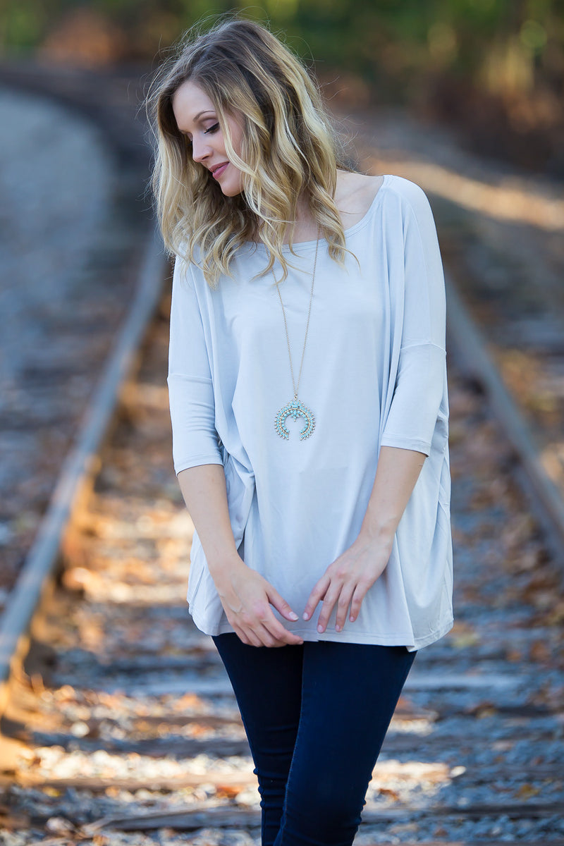 The Perfect Piko 3/4 Sleeve Top-Natural Grey