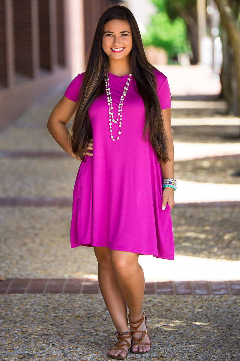 The Perfect Piko Short Sleeve Swing Dress-Orchid