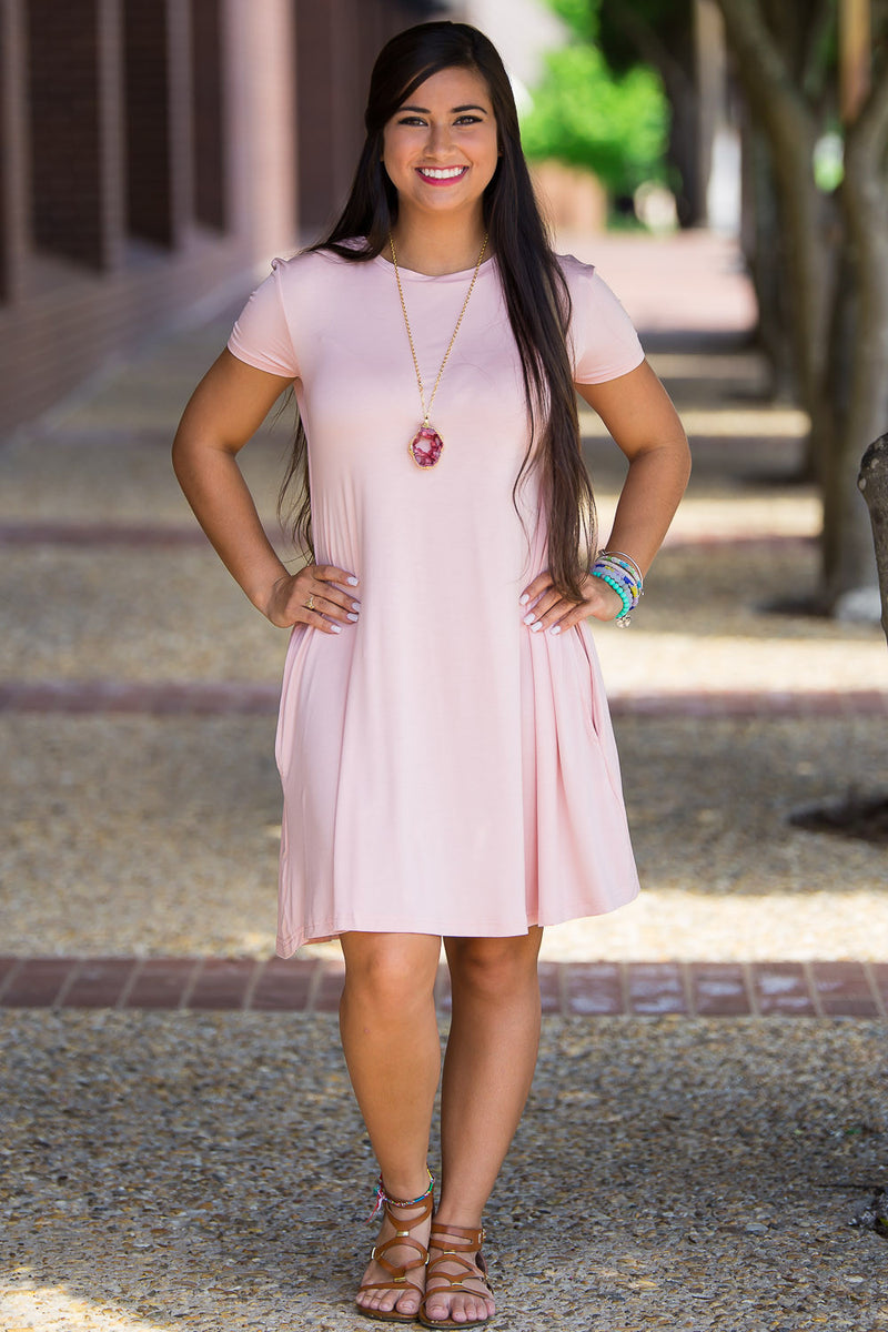 The Perfect Piko Short Sleeve Swing Dress-Mauve