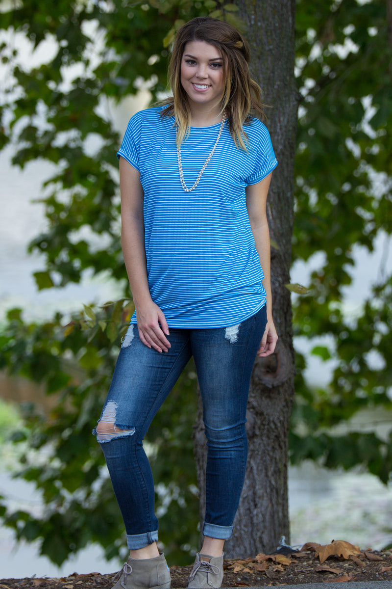 The Perfect Piko Rolled Short Sleeve Tiny Stripe Top-Blue/White