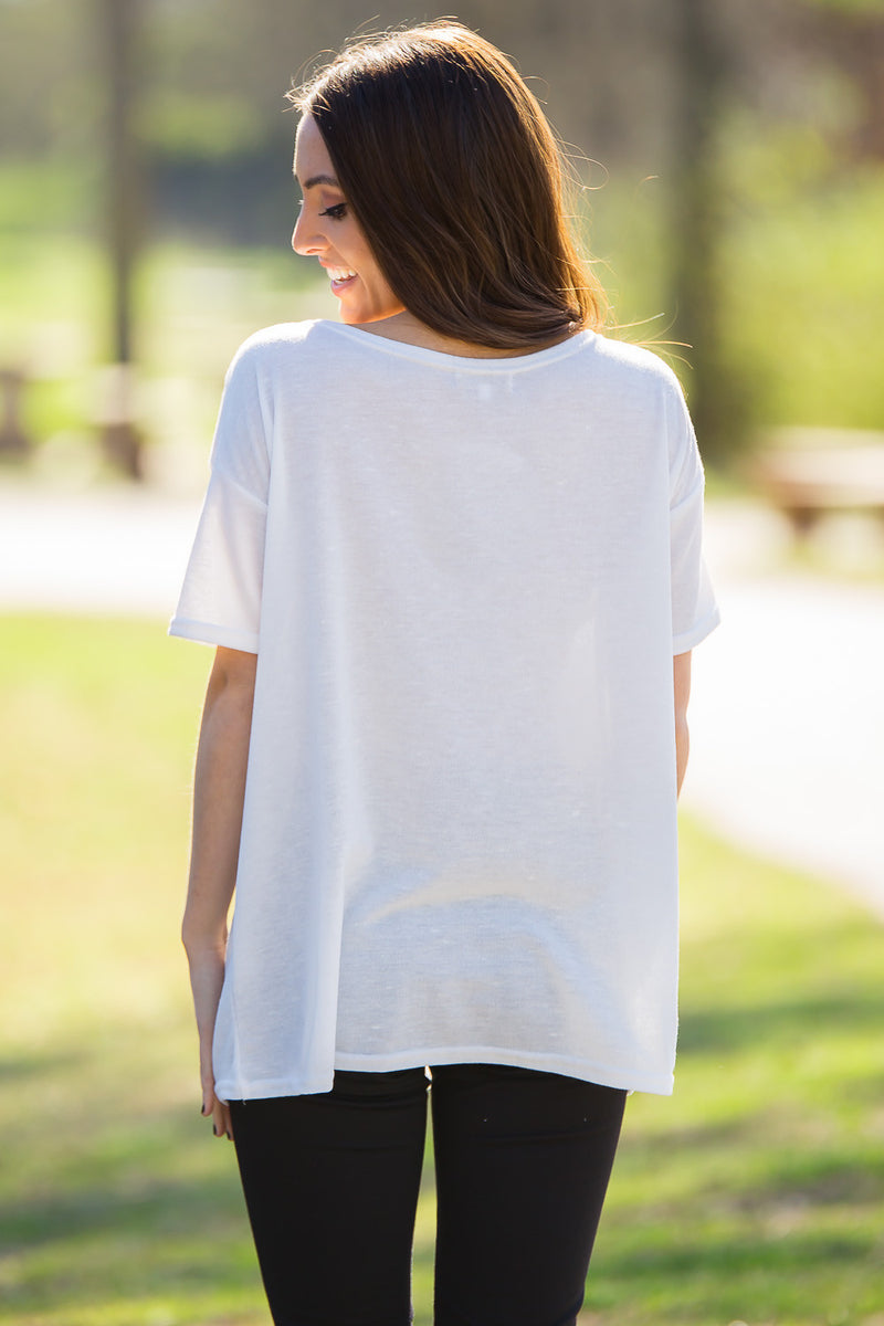 Short Sleeve Knit Piko Top-Off White