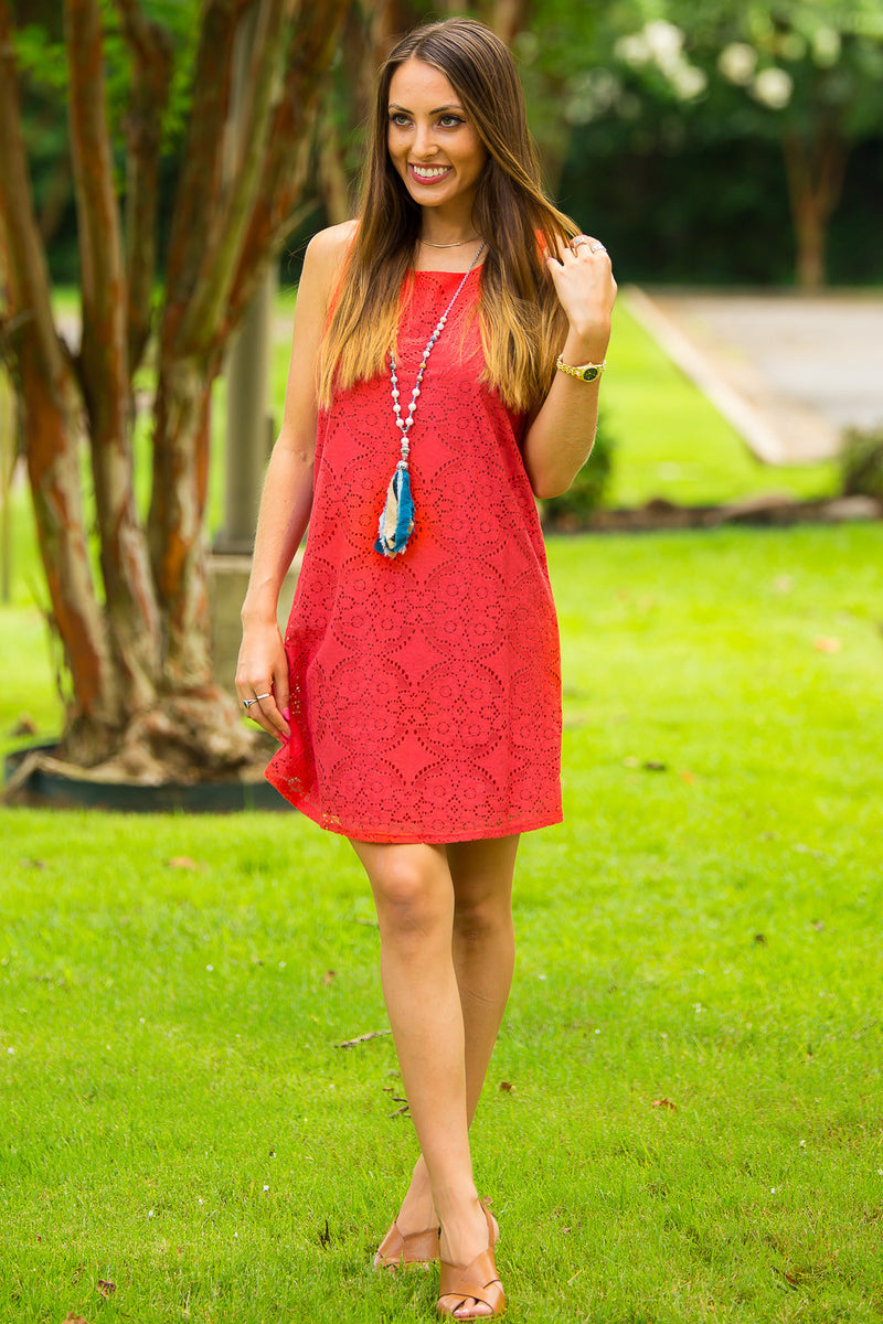 SALE-Everly-Glows On And On Dress-Tomato Red