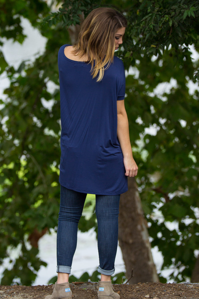 The Perfect Piko Short Sleeve Tunic-Navy