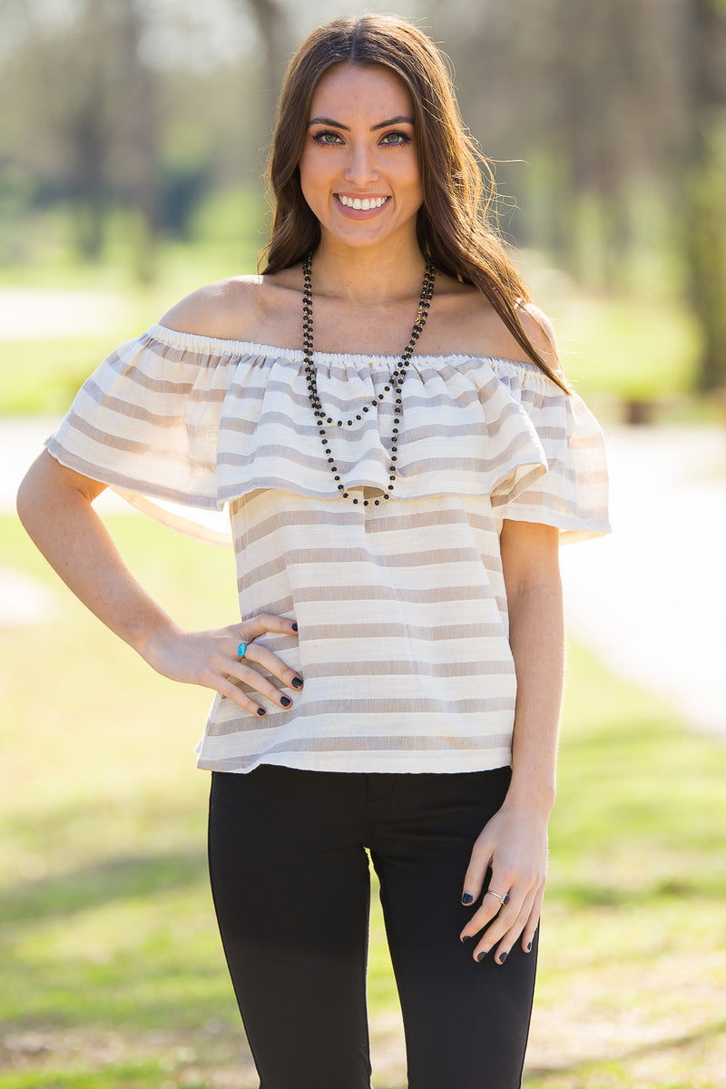 Smell The Roses-Hadley Off The Shoulder Top-Mocha