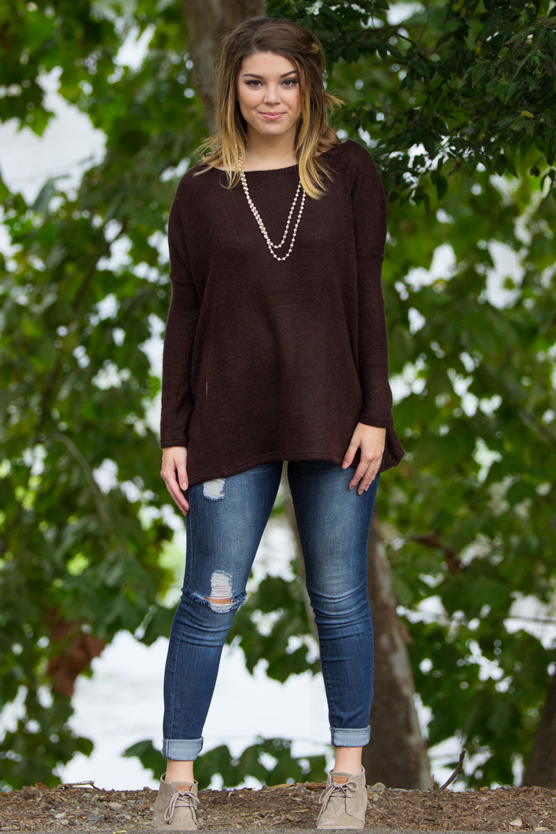 The Perfect Piko Sweater Top-Dark Brown