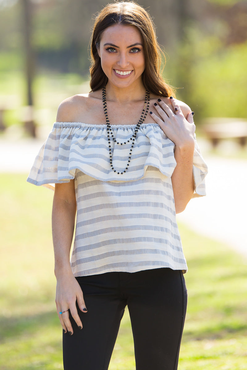Smell The Roses-Hadley Off The Shoulder Top-Grey