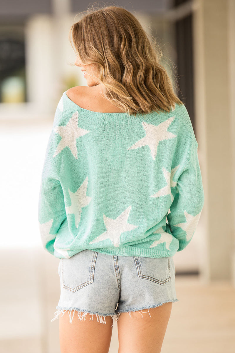 SALE-Mesmerized By The Stars Sweater - Mint