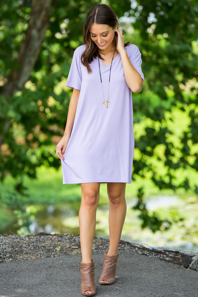 The Perfect Piko Short Sleeve V-Neck Dress-Lilac