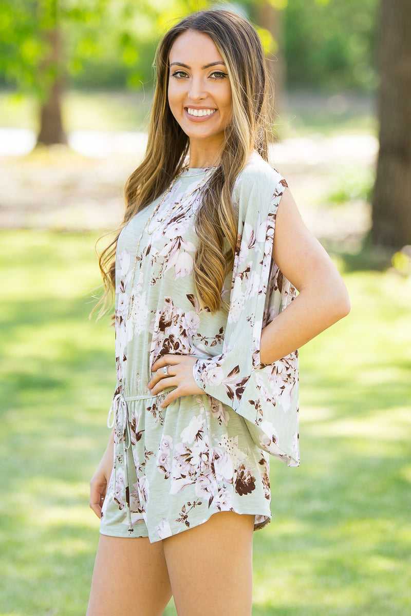 SALE-A Little Love Romper-Light Sage/Ivory