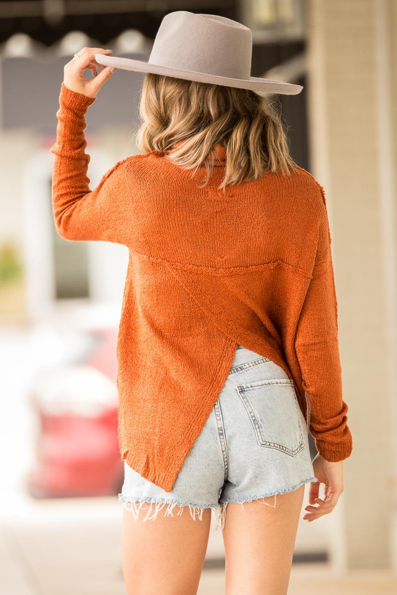 SALE-I'm Falling For You Now Sweater Top-Rust