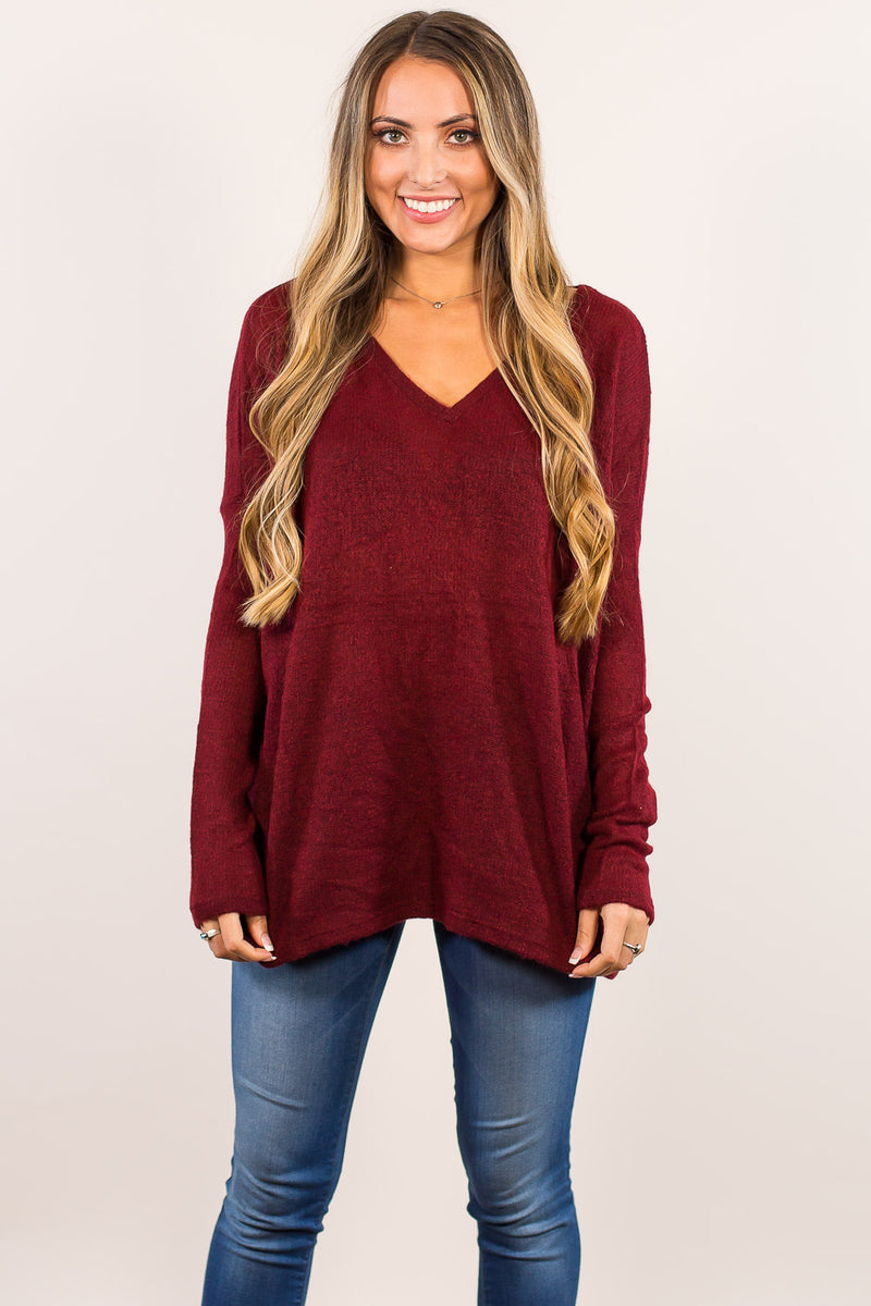The Perfect Piko V-Neck Sweater Top-Wine