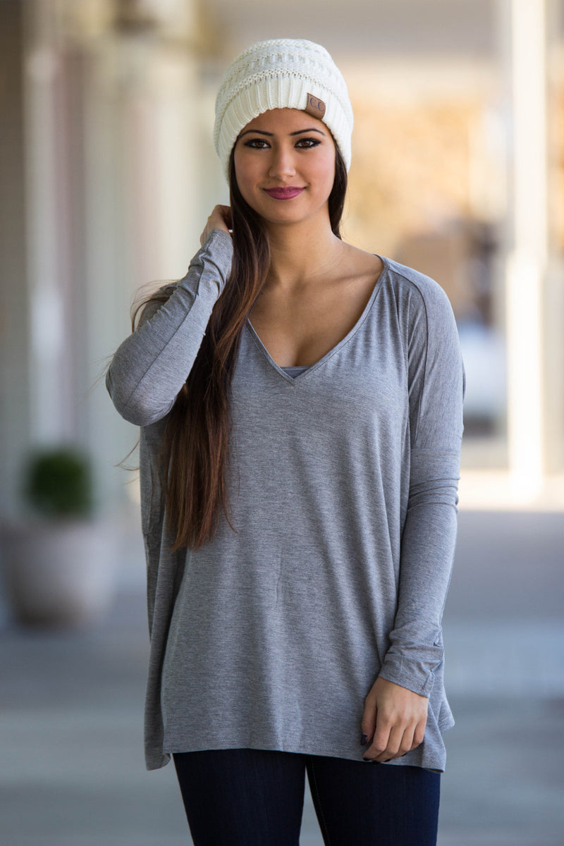 The Perfect Piko V-Neck Top-Heather Grey