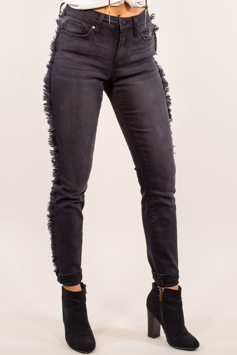 Elan-Jeans With Fray Side-Charcoal