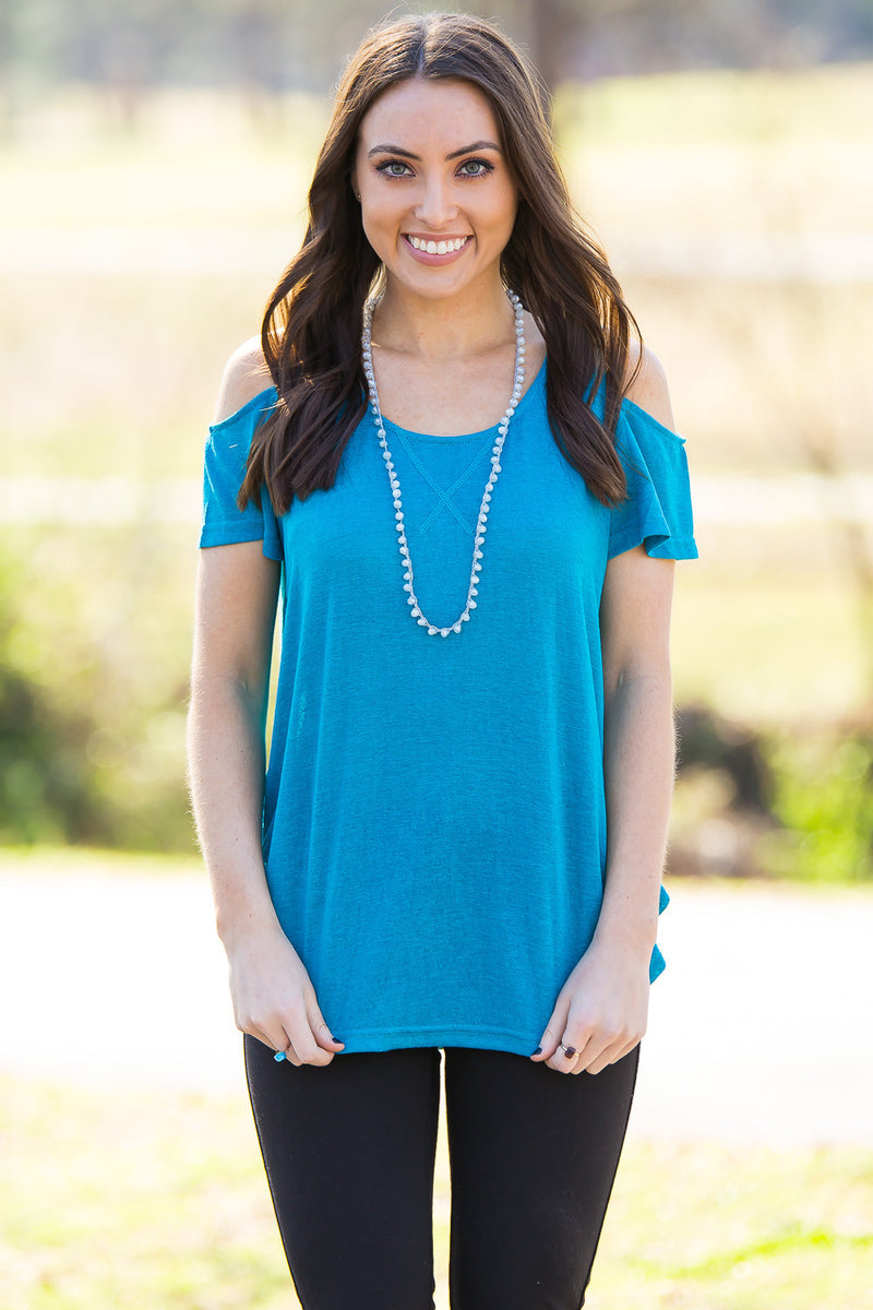 Everyone's Talkin' About It Top-Teal