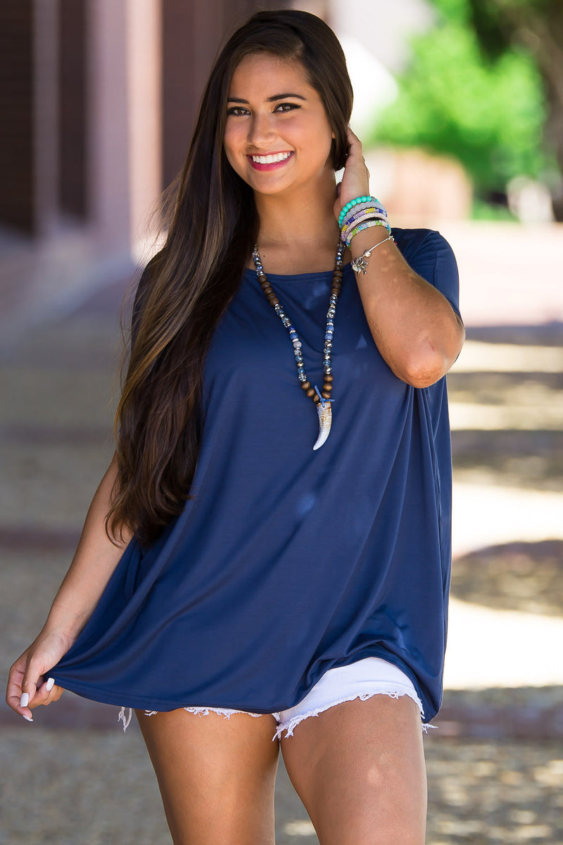 The Perfect Piko Short Sleeve Top-Navy