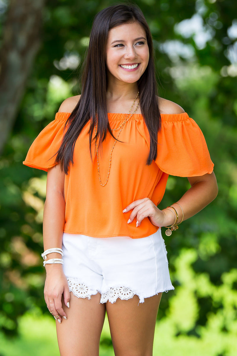 SALE- A Sure Thing Top-Orange