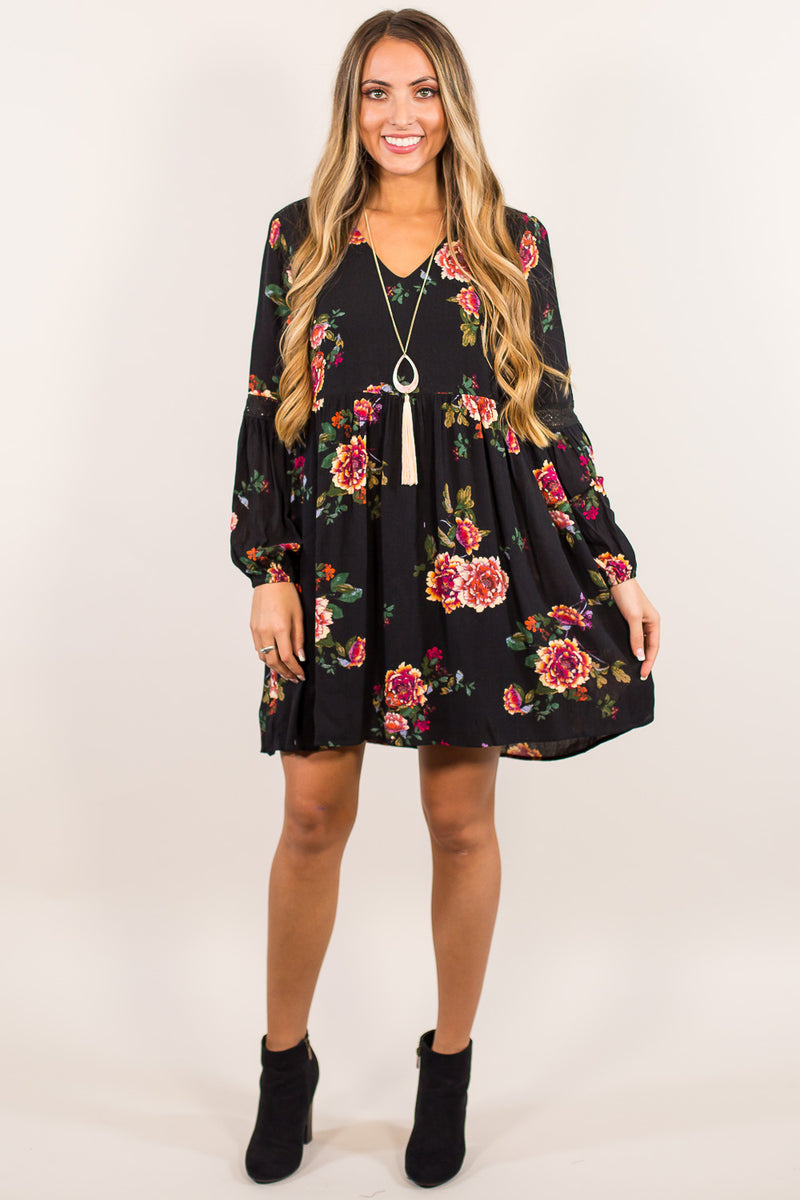 SALE - Everly-Floral Frenzy Dress-Black