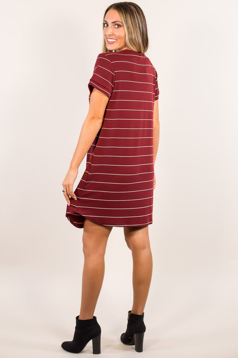 When And Where Dress-Burgundy/White