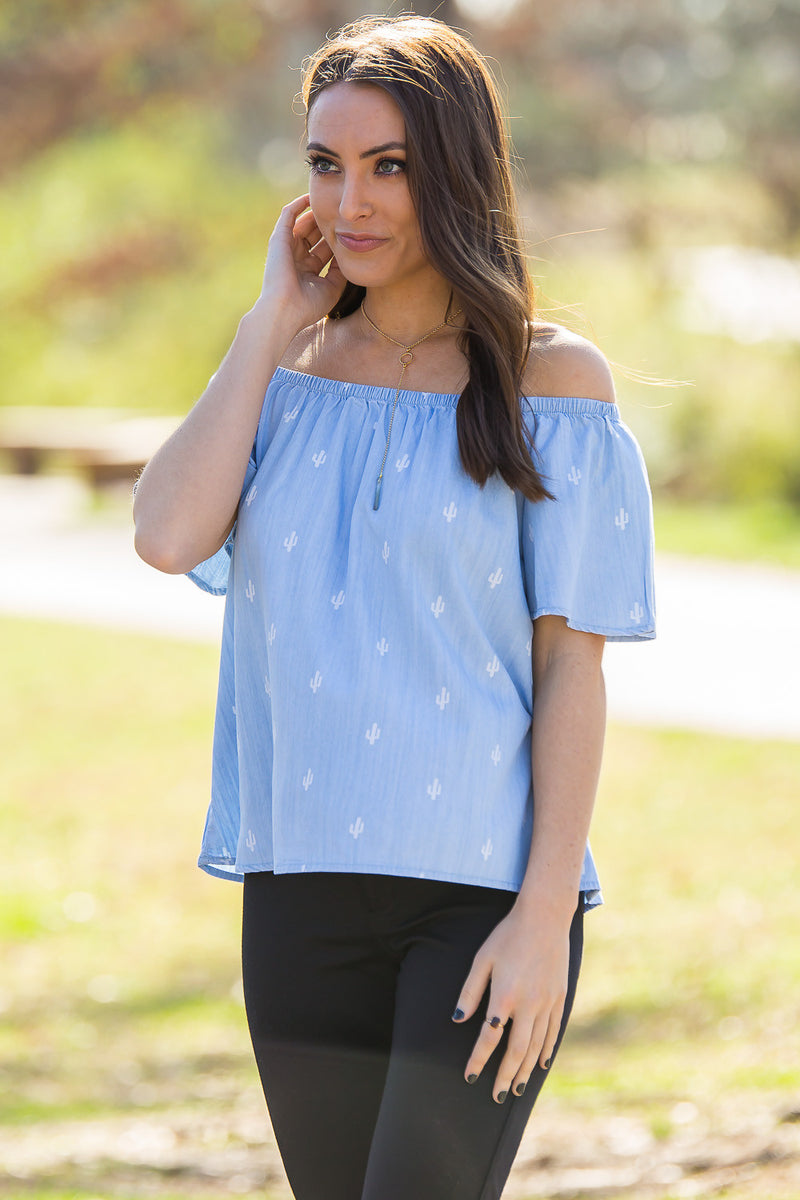 Buddy Love-Sipsey Cactus Off The Shoulder Top-Denim