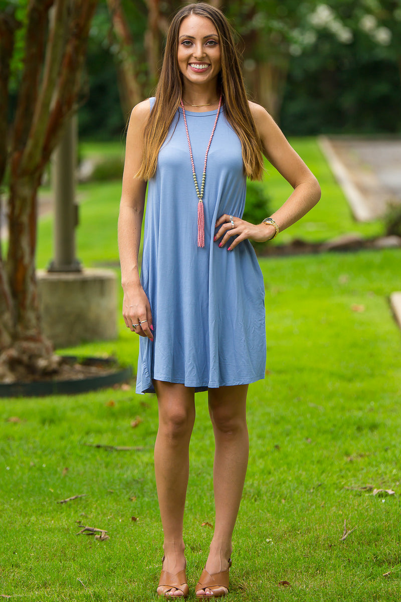 The Perfect Piko Tank Swing Dress-Serenity