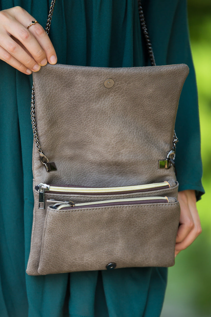 Triple 7 Global-Suede Flap Over Mini Crossbody-Grey
