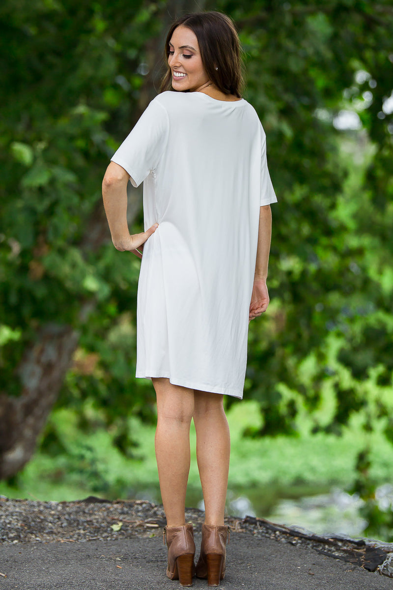 The Perfect Piko Short Sleeve V-Neck Dress-Off White