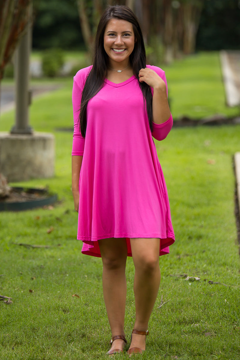 The Perfect Piko 3/4 Sleeve V-Neck Swing Dress-Hot Pink