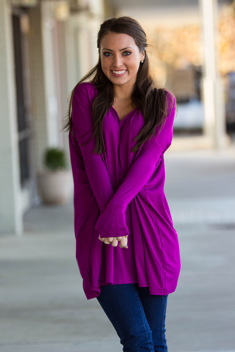 The Perfect Piko V-Neck Tunic Top-Bright Fuchsia