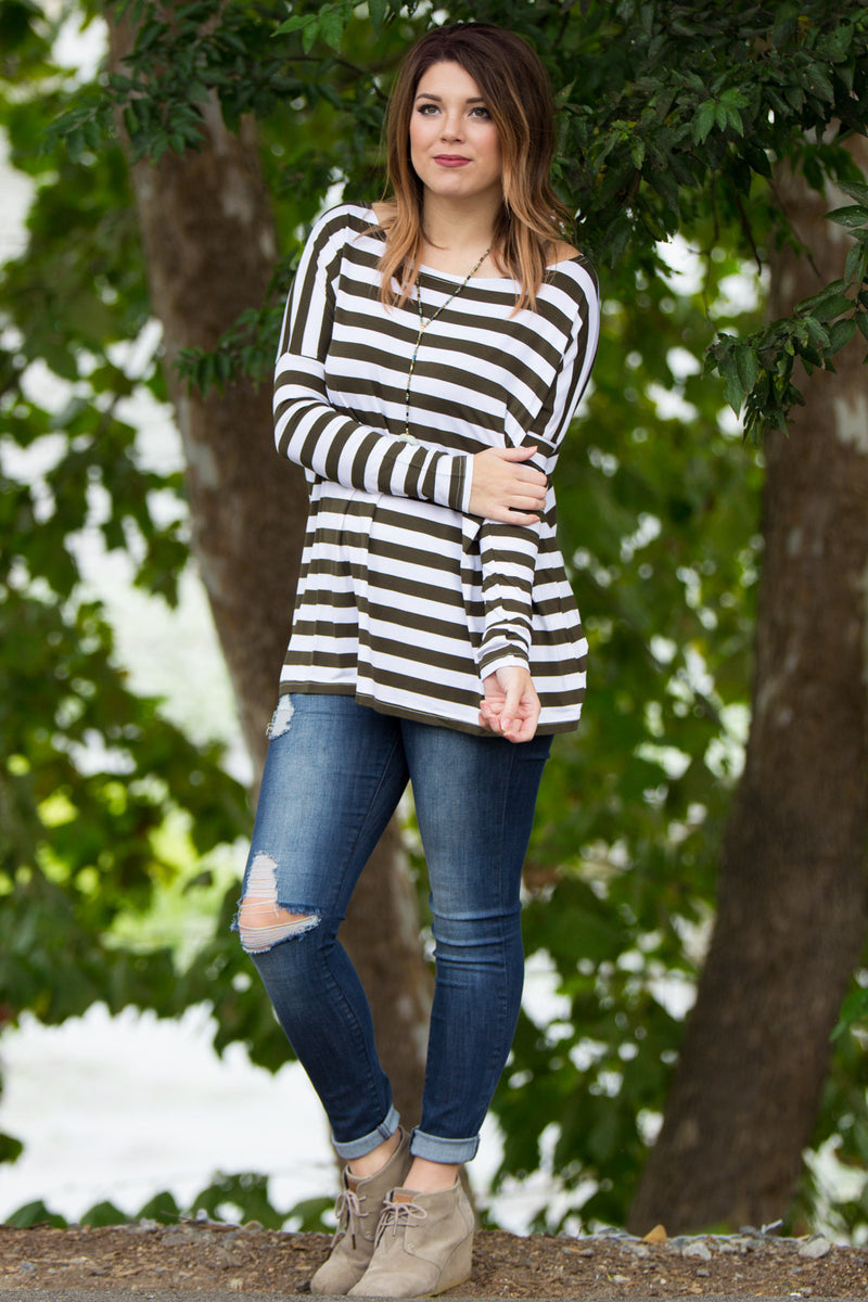 The Perfect Piko Thick Stripe Top-Olive/White