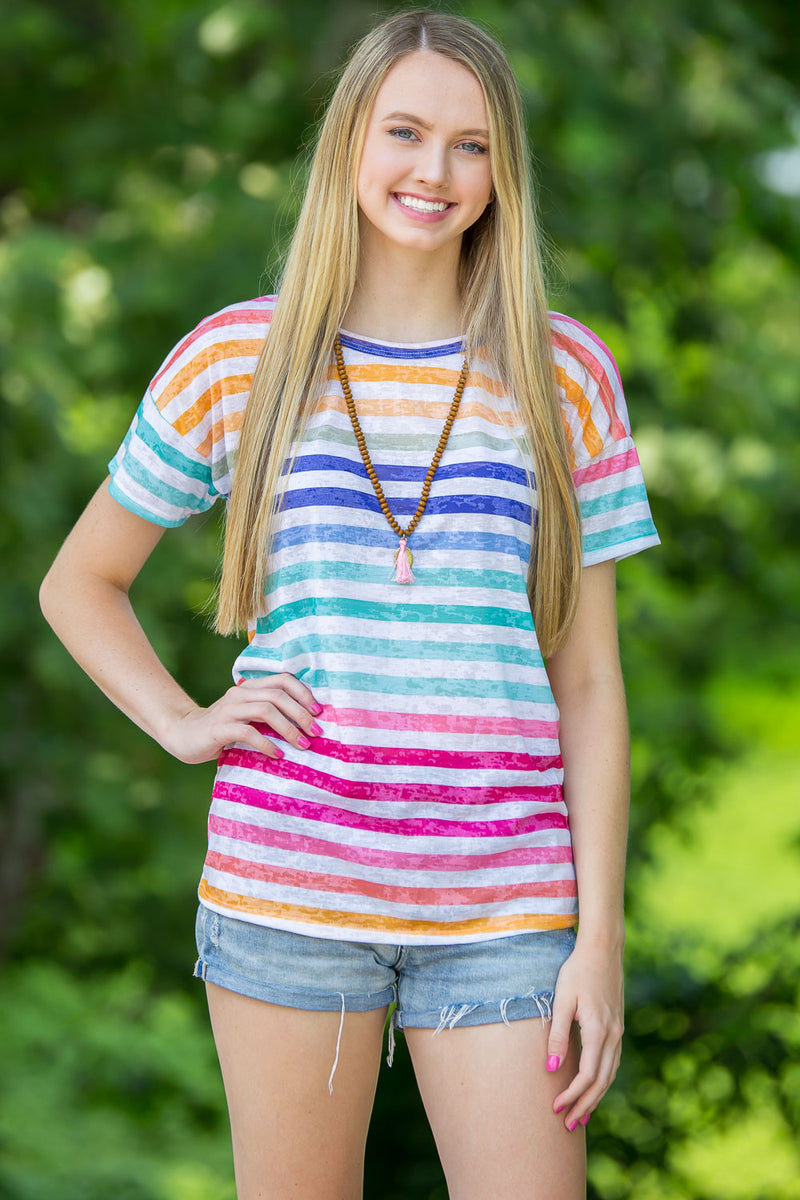 Colors Of The Rainbow Top-Multi
