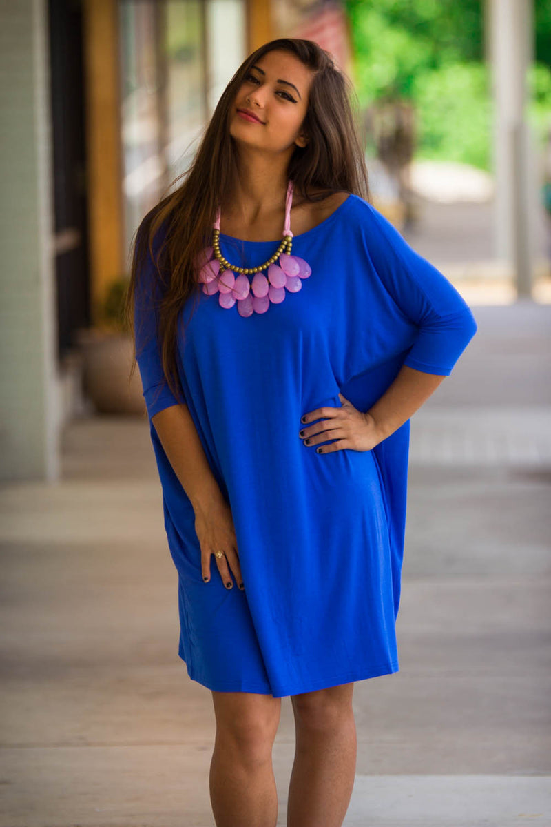 The Perfect Piko Half Sleeve Tunic-Royal Blue