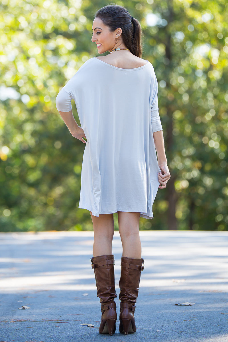 The Perfect Piko Half Sleeve Tunic-Silver